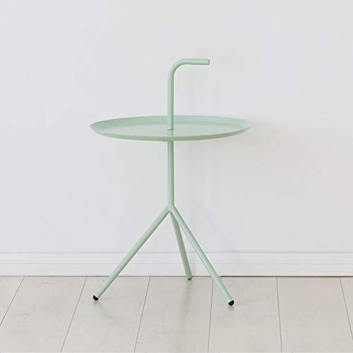 LICHUAN Mesa de café moderna redonda multifuncional de metal pequeña mesa de centro para sala de estar, pasillo, dormitorio, mesa auxiliar (color: verde)
