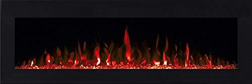 Efydis Volcano 3XL Camino elettrico a muro con cornice nera effetto fiamma mediante led