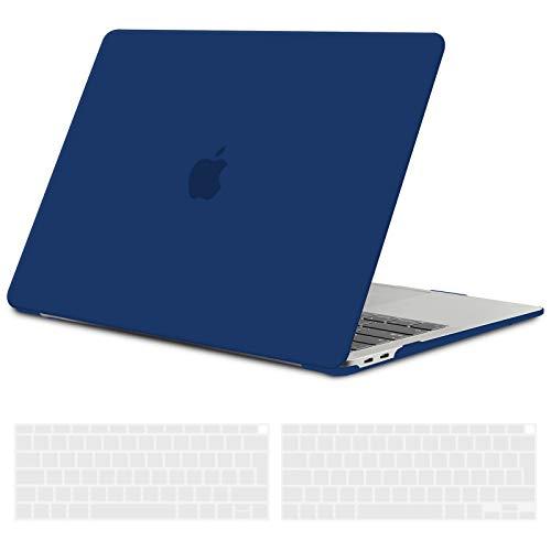 TECOOL Custodia MacBook Air 13 Pollici 2020 2019 2018 (Modello: A2337 M1/A2179/A1932), Plastica Case Cover Rigida Copertina con Copritastiera in Silicone per MacBook Air 13.3 Touch ID - Blu Navy