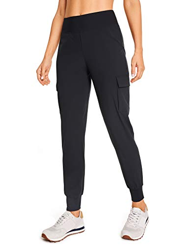 CRZ YOGA Women's Quick Dry Lounge Joggers with Pockets High Waisted Training Cargo Pants Workout Clothes Black Medium