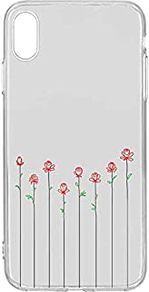 Switch iPhone XS Max Clear Case Roses colored Line work