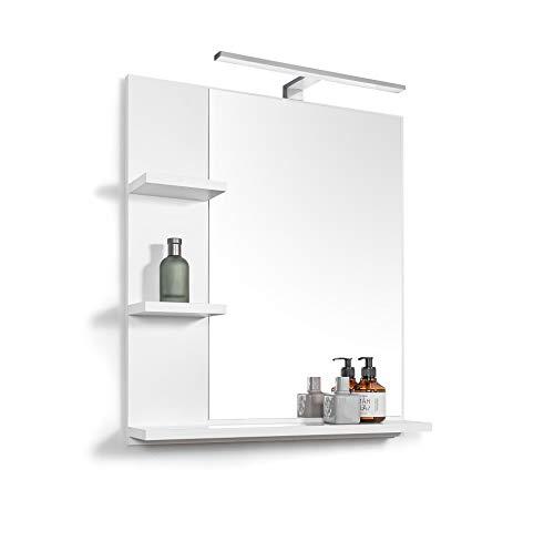 DOMTECH Badspiegel mit LED-Beleuchtung und mit Ablagen, Weiß Badezimmer Spiegel, Wandspiegel, Badezimmerspiegel, L