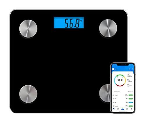 Báscula de mano con 12 mediciones, masa grasa, magra, músculos, agua, metabolismo basal, edad biológica corporal, para iOS y Android