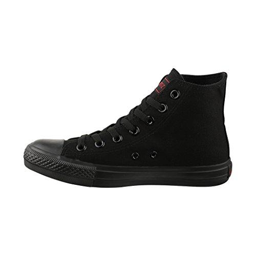 Elara Zapatillas de Deporte Unisex Zapatos Deportivos High Top Chunkyrayan Negro 014-A-Black-Black-38