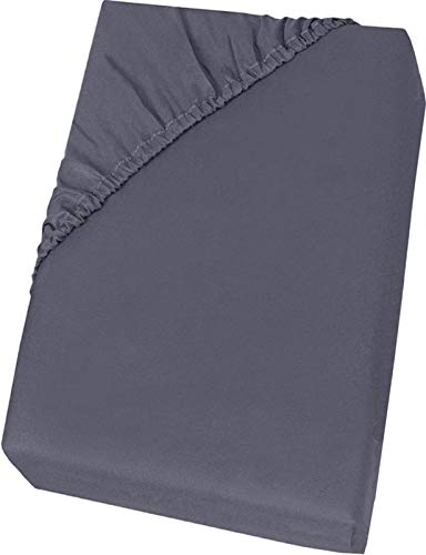Lenzuola Letto Angoli Singolo, Lenzuolo sotto Singolo Cotone Percalle 100% Cotone (Grigio, 180 x 200 x 30cm)