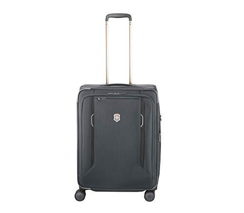 "Victorinox WT 6.0 Softside Spinner Luggage, Grey, Checked-Medium (24"")"