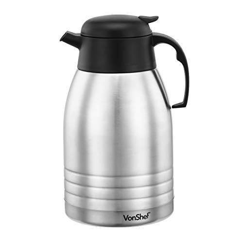 VonShef 2 Litre Insulated Vacuum Jug Flask - Double Walled...