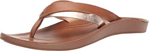 OLUKAI Women's Kaekae Sandals, Sahara/Bubbly, 10 M US