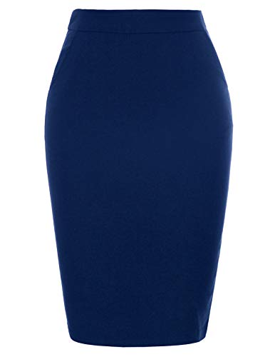 Kate Kasin Women's Stretchy Cotton Pencil Skirt Slim Fit Business Skirts (Navy Blue, Large)