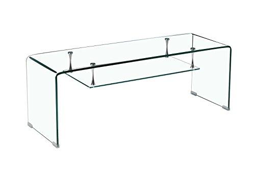 Meubletmoi - Mueble de TV de Cristal Transparente - Estante - Diseño de Sala de Estar Moderna - Ice