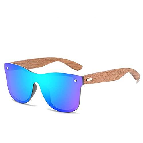 AMFG Hombres y mujeres Gafas de sol polarizadas Deportes Bambú y gafas de madera Gafas de sol de madera Colorido al aire libre (Color : A)