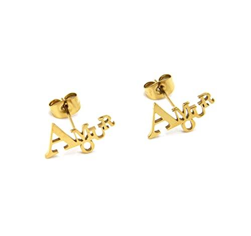 BO2062 – Pendientes de letra con amor, acero dorado