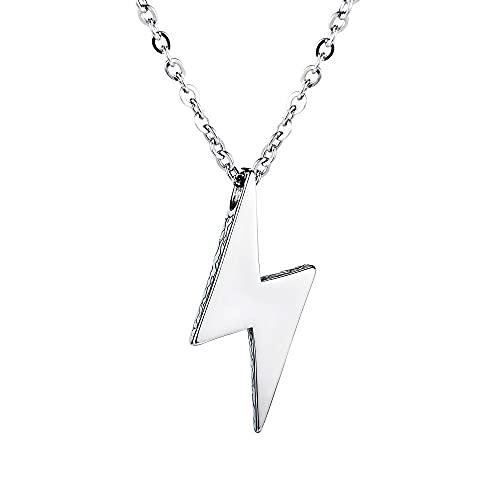 maozuzyy Collar Colgante Joyería Collar De Ocio De Moda Marea Relámpago Collar De Acero De Titanio Colgantes Simples De Los Hombres De La Calle