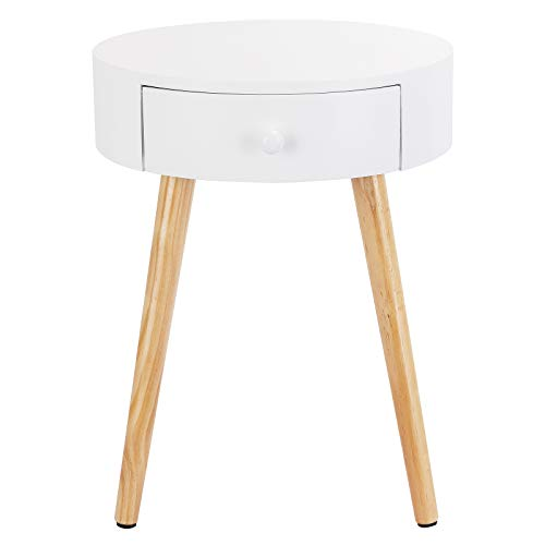 eSituro Bedside Table White with 1 Drawer Round Cabinet Nightstand Storage Unit Side End Table for Bedroom Living Room 38x38x48cm SCD0139