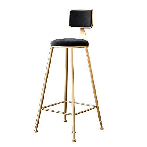 Taburete de Bar Altos con Respaldo Ruedas para Cocina, sillas de taburetes de Bar Dorado Terciopelo de Altura de mostrador diseño Modernos, Alto 65 cm / 75 cm, Negro
