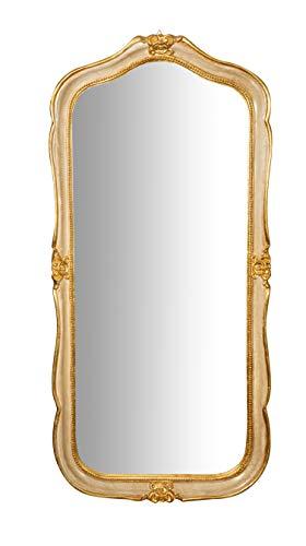 Biscottini Specchio Specchiera da parete stile Shabby in legno con finitura foglia oro anticato misure L47xPR4xH100 cm produzione Artigianato Fiorentino Made in Italy