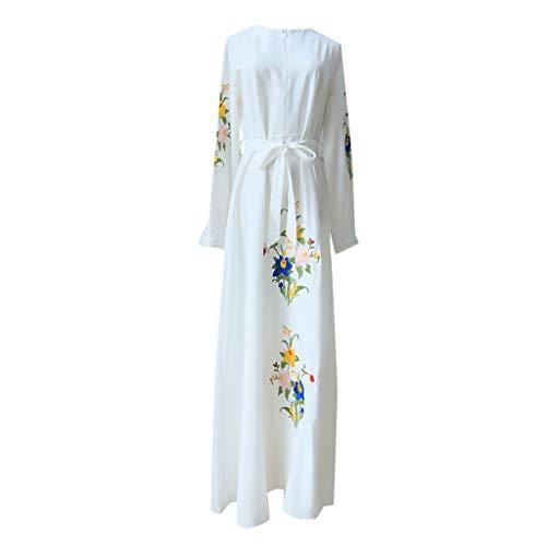 Robe Musulmane Femme Longue, Femmes Musulmanes Tops Manches Longues Robe de prière d'or Islamique Arab Respirant Fleur de Broderie Musulman Vintage Kaftan Arab Vêtements