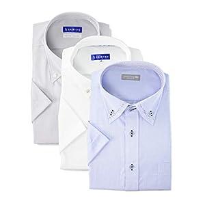 [スマートビズ] 半袖ワイシャツ ノーアイロン綿100%の優しい着心地 ニットシャツの快適さ 王道のシンプルシャツ 3種類のシャツで毎日を楽しく EHEXSH3SET メンズ ボタンダウン 3色セット NO,3 首回り37 (日本サイズS相当)