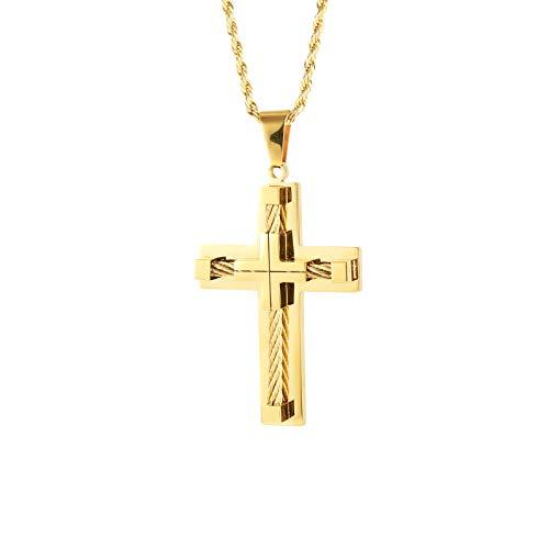 HELLOICE Colgante de cruz de acero inoxidable en oro con cadena gratis para hombre, estilo punk hip hop, cruz con caja de regalo amarillo