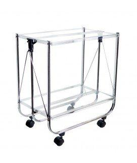 Jd Diffusion T305, Tavolo Pieghevole con rotelle, Trasparente, Metallo e plastica