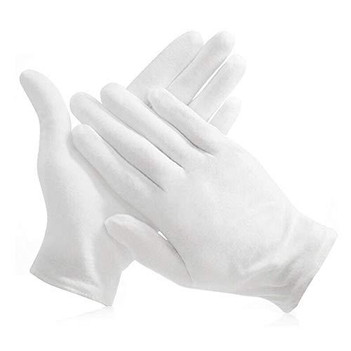 O-Kinee 15 Paires Gant Lavable, Gants De Coton Blanc, Gant Hydratant Femme Homme Gants en Tissu pour Eczéma, Mains Sèches, Hydratation, Nettoyage des Costumes en Argent (XL Taille)