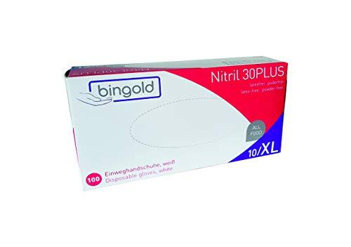 Nitrilhandschuhe Bingold 30Plus Weiß Latexfrei 100 Stück Box (XL), Einmalhandschuhe Nitril, Einweghandschuhe, Untersuchungshandschuhe, Nitril Handschuhe, puderfrei, latexfrei, disposible Gloves