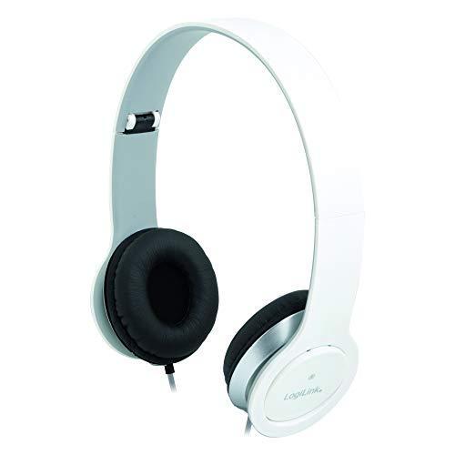 LogiLink HS0029 Stereo High Quality Headset mit Mikrofon, hohem Tragekomfort und verstellbaren + klappbaren Bügeln, Weiß