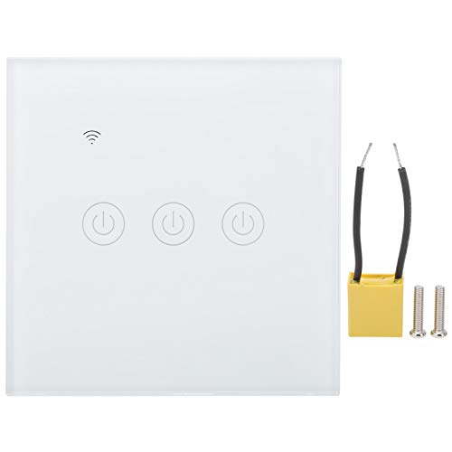 Interruptor de pared táctil WiFi inteligente, no requiere cable neutro, funciona con Alexa Google Home, control remoto, 200-240 VCA de 3 vías blanco, compatible con IFTTT Roqi/iPhone-Siri/Echo dot