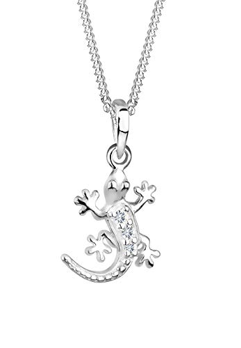 Elli Halskette Damen Gecko Eidechse mit Kristalle in 925 Sterling Silber