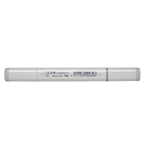 COPIC Sketch Marker Typ C - 3, cool gray No. 3, professioneller Pinselmarker, alkoholbasiert, mit einer Super-Brush-Spitze und einer Medium-Broad-Spitze