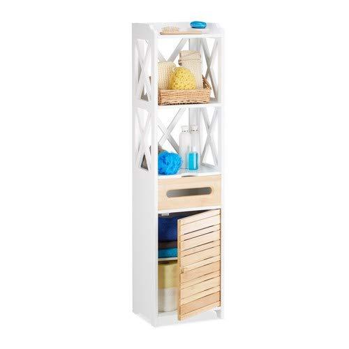 Relaxdays Bijzetkast groot met 6 legplanken, multifunctionele kast voor badkamer en keuken, smalle plankkast voor nis, wit