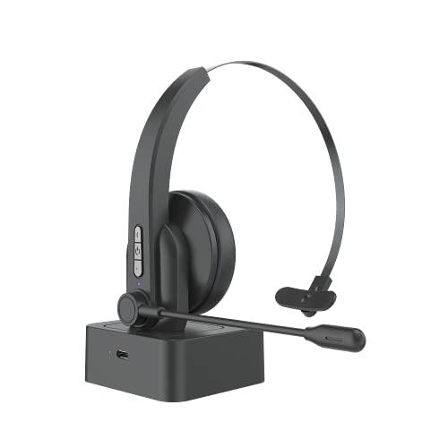Bluetooth 5.0 Auriculares con Micrófonos, Auricular Bluetooth Cascos PC con Estación de Carga Cancelación de Ruido, Compatible con Servicio Telefónico,Manos Libres,Skype,Call Centers,Truck Dri