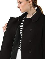 Allegra K Women's Peter Pan Collar Double Breasted Winter Long Trench Pea Coat Black 16 #5