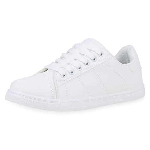 SCARPE VITA Damen Sneaker Low Turnschuhe Schnürer Bequeme Freizeitschuhe Leder-Optik Schuhe Flats 192574 Weiss Weiss Total 39