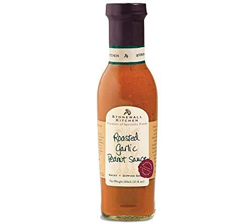 Roasted Garlic Peanut Sauce von Stonewall Kitchen (330 ml) - Gourmet-Soße mit geröstetem Knoblauch und Erdnüssen - ideal für asiatische Gerichte, Hühnchenspieße, Schweinefilet, Shrimps & Co