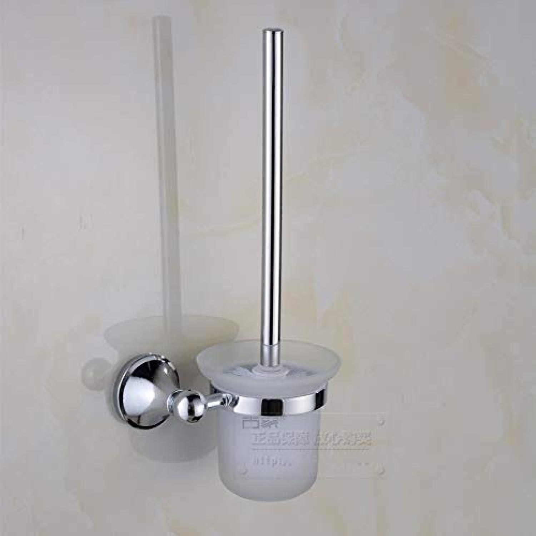 XIAOL Home Toilettenbürste und Halter Edelstahl Glas überzogene Toilettenbürste schrubben mit Stangen-Bad-Zubehr