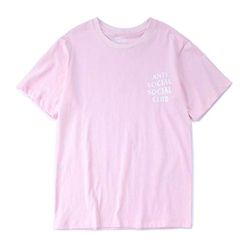 Unisex Hip Hop Mode Anti Social Social Club T-Shirt Sweat Tee Style Tee (Rosa, m)