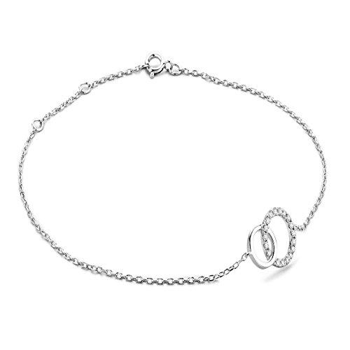 Miore Armband - Armreif Damen Kette Weißgold 9 Karat / 375 Gold Diamant Brillianten 0.08 ct 18 cm