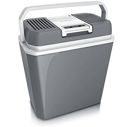 Brandson - Kühlbox elektrisch 24L – 230 V Netzspannung und 12 V KFZ Auto Bordspannung – kühlt und wärmt – Heizen max. 50°C – Herabkühlen 18°C unter Umgebungstemperatur - ECO Modus – Cool Grey