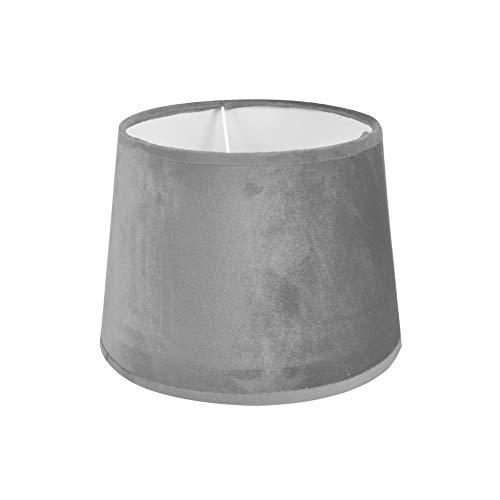 Homea 6ABJ124GR Lampenschirm, Velours, Grau, Durchmesser 25 cm, Höhe 18,5 cm
