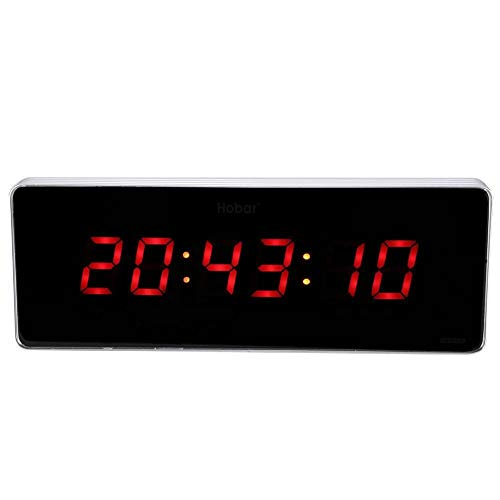 Vobor Reloj LED Digital Wall 110-240 Reloj del Calendario de Temperatura Relojes de Pared, LED Reloj Digital Enchufe de la UE con Cable USB (tamaño : Hour+Minute+Second)