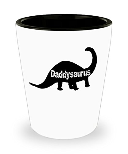 Funny Fathers Day Gifts Shot Glass for Dad Daddysaurus