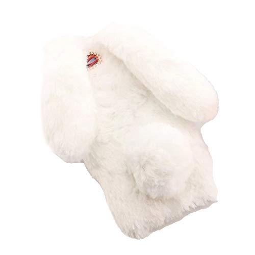 RosyClouds Funda de felpa para iPhone 7, 8 Plus, X, XS 11, 12, Mini Pro Max XR, diseño de orejas de conejo en 3D, color blanco