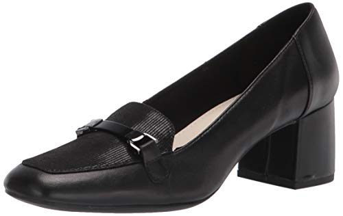 Anne Klein womens Evera Loafer, Black Leather, 6.5 US