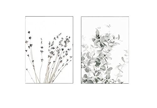 2 piezas lavanda eucalipto carteles botánico lienzo pintura granja decoración de la pared imágenes artísticas decoración del dormitorio decoración escandinava sin marco 50x70cm/19.7x27.5inch