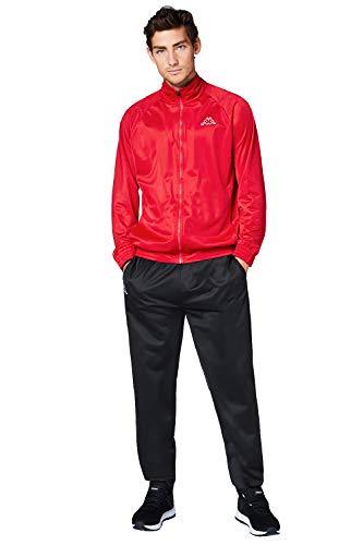 Kappa Trainingsanzug Villos für Herren, bequemer Tracksuit für Sport, Freizeit und Reisen, die Jogginghose & Trainingsjacke sind atmungsaktiv, schnell trocknend, Ribbon red, Größe L