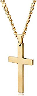 Stainless Steel Chain Gold Cross Necklace for Men Women 24 Inch