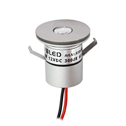 VBLED® 1W LED Mini Spot, Einbaustrahler 3000K Warmweiß, 12VDC Dimmbar, Aluminium, IP65 Wassergeschützt