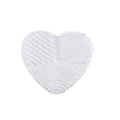 Silicone en forme de coeur de maquillage Brosse de nettoyage Brosse en forme de coeur Brosse de nettoyage Egg outil Pinceau Beauté - Blanc