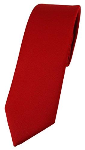 TigerTie schmale Designer Krawatte in rot einfarbig Uni - Tie Schlips
